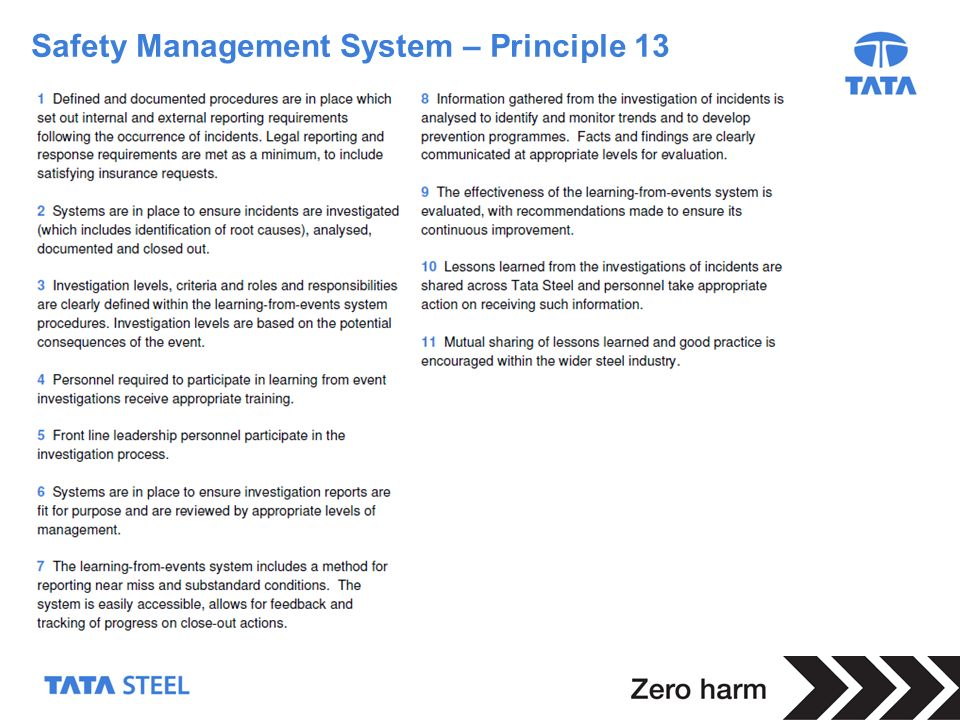 Safety Management System – Principle 13