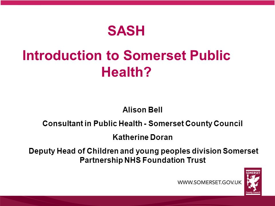 SASH Introduction to Somerset Public Health