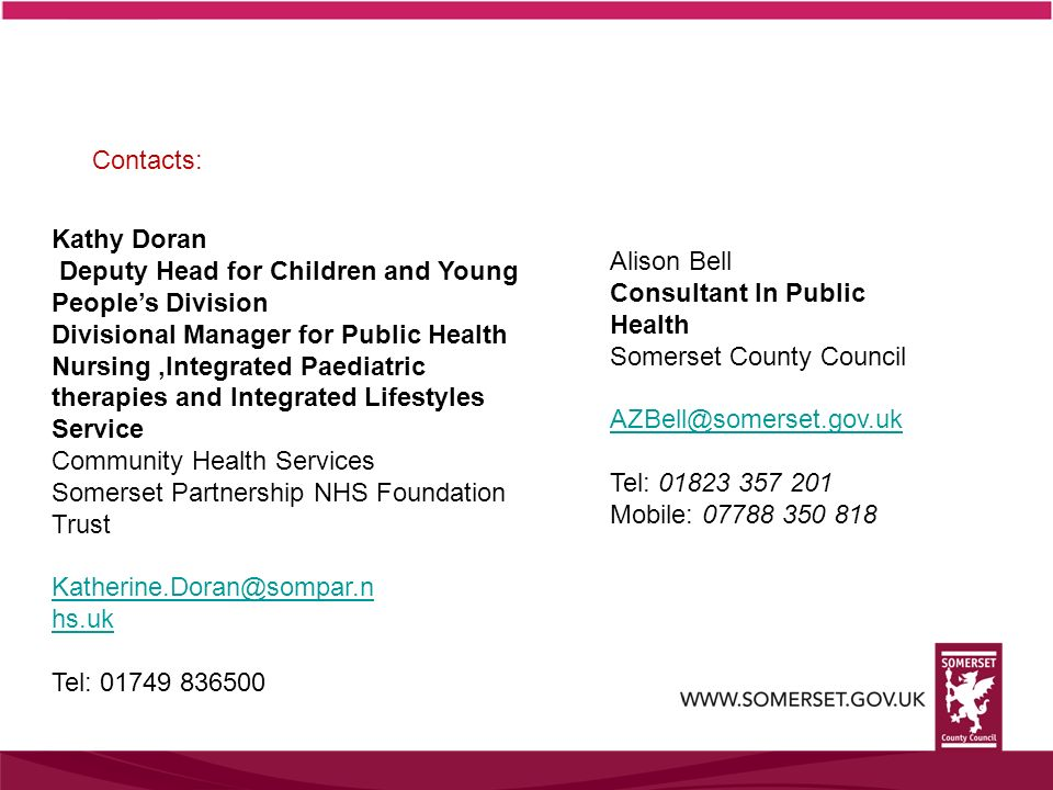 Contacts: Kathy Doran. Deputy Head for Children and Young People's Division.