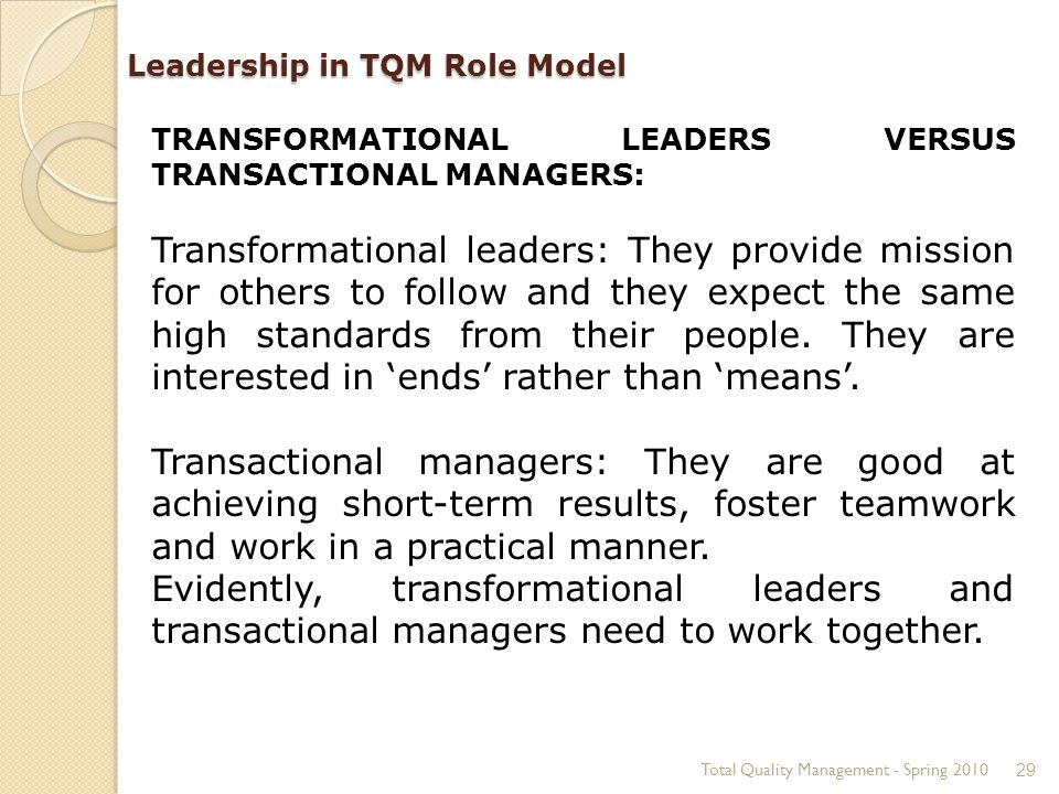role of leadership in quality management
