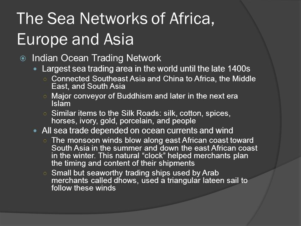 The Sea Networks of Africa, Europe and Asia