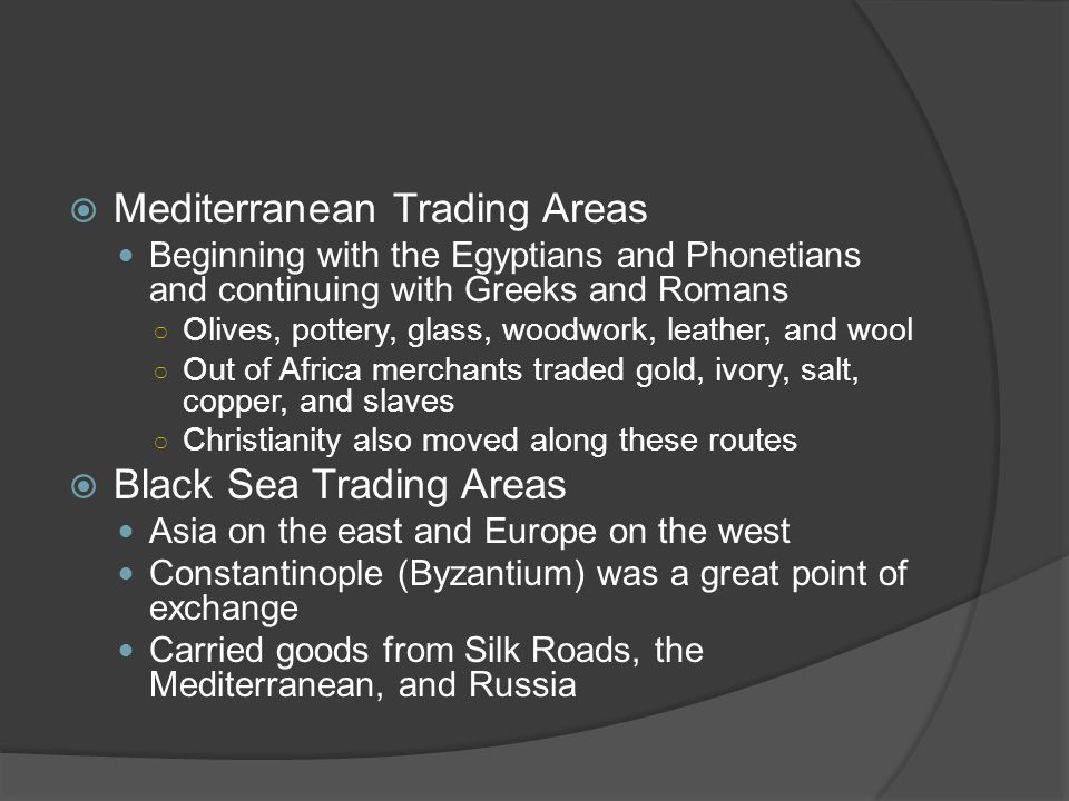 Mediterranean Trading Areas