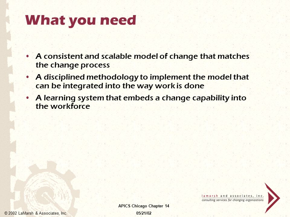 What you need A consistent and scalable model of change that matches the change process.