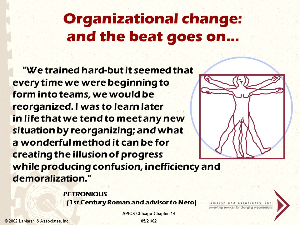 Organizational change: and the beat goes on...