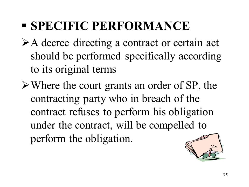 specific performance of contract act