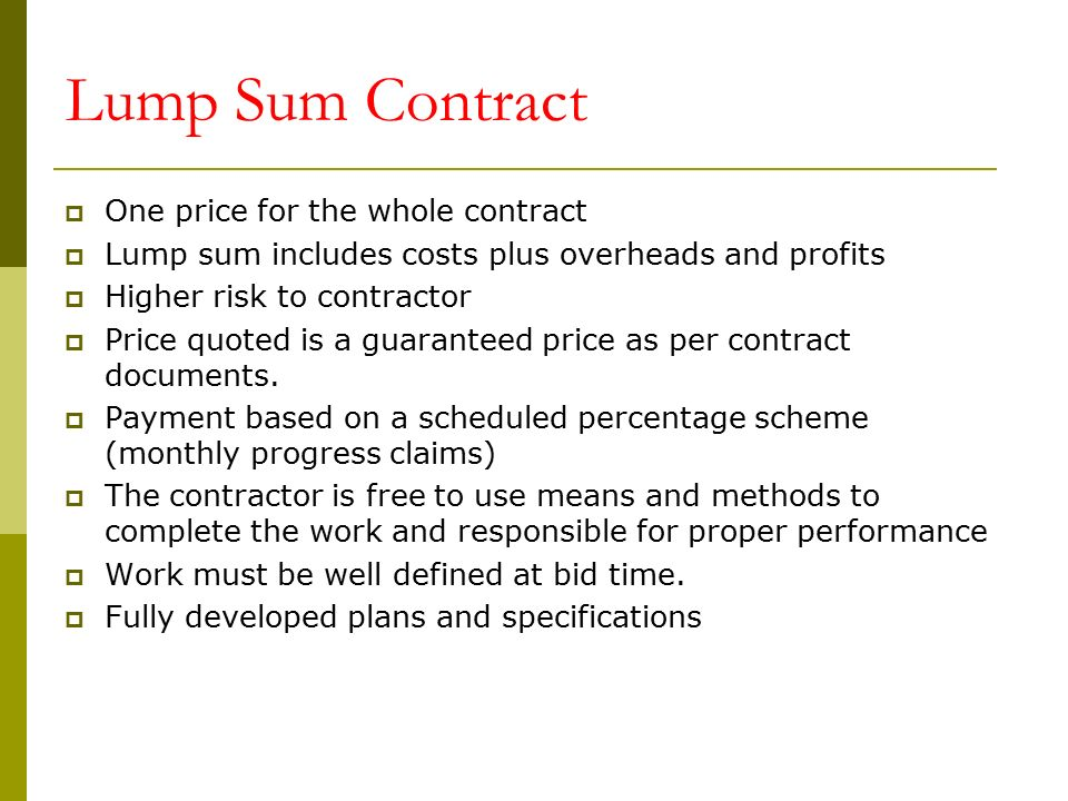 CONSTRUCTION CONTRACTS DOCUEMENTS Ppt Download - Lump sum contract template