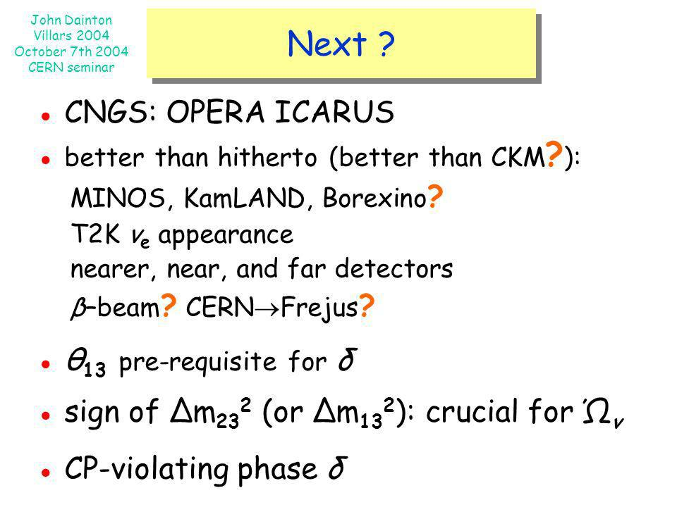 Next ● CNGS: OPERA ICARUS ● better than hitherto (better than CKM ):