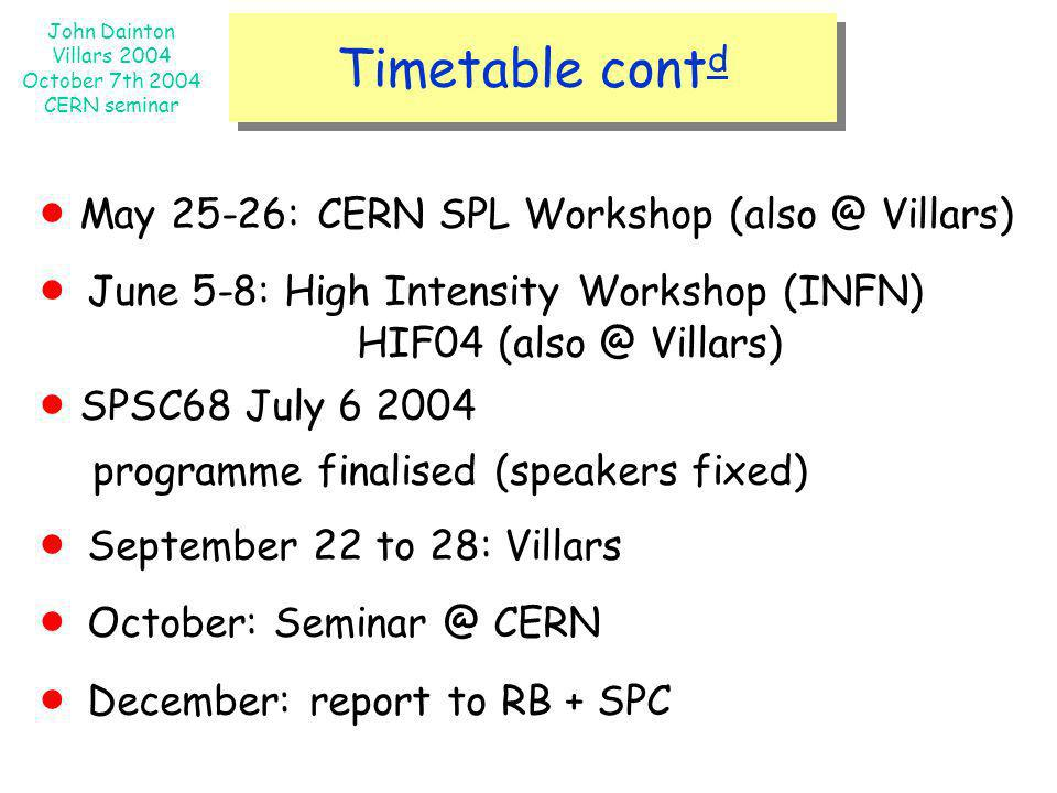  May 25-26: CERN SPL Workshop Villars)