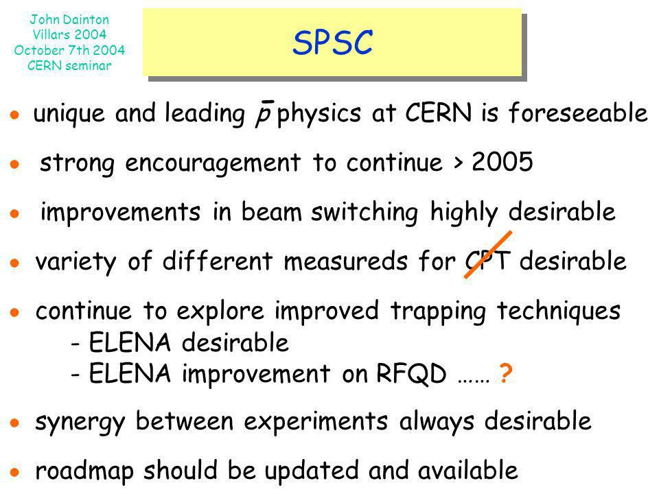 - SPSC ● unique and leading p physics at CERN is foreseeable