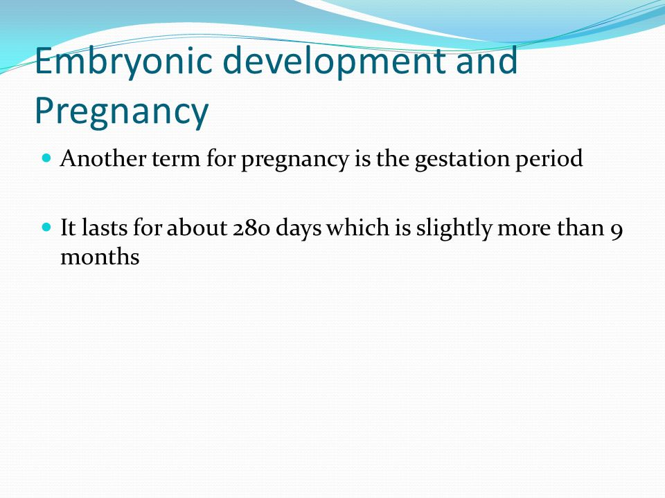 Embryonic development and Pregnancy
