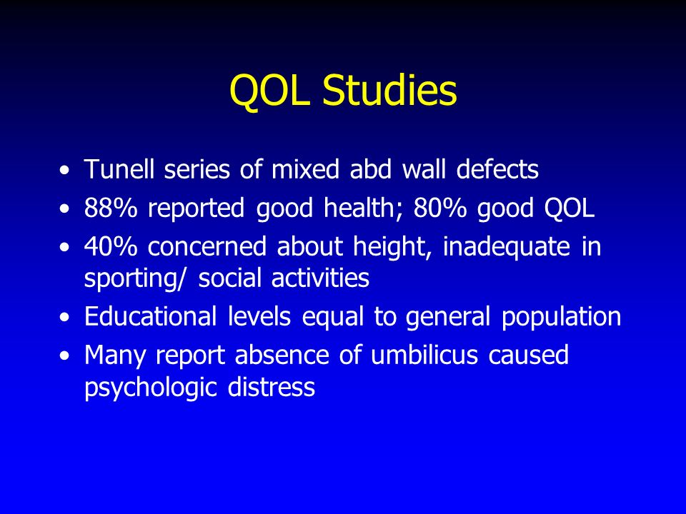QOL Studies Tunell series of mixed abd wall defects