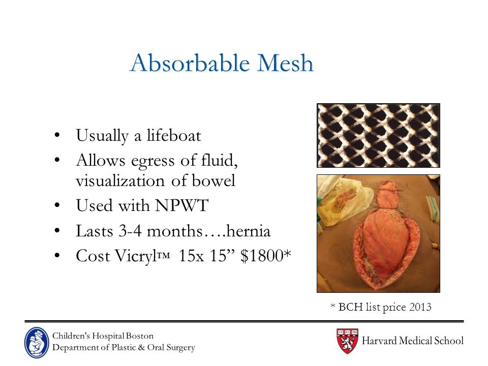 Absorbable Mesh Usually a lifeboat