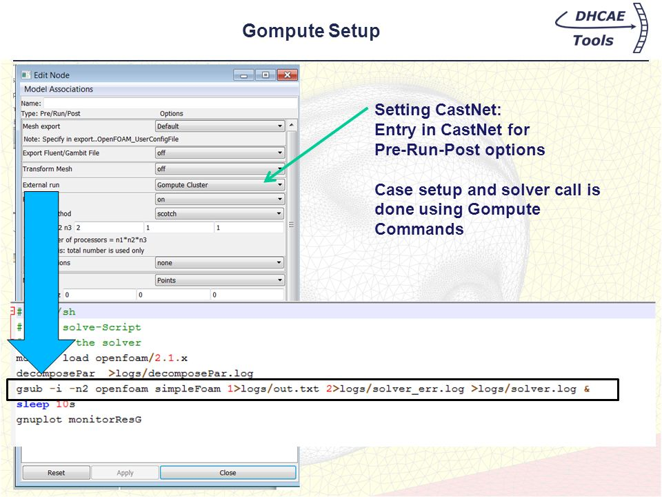 Gompute Setup Setting CastNet: Entry in CastNet for