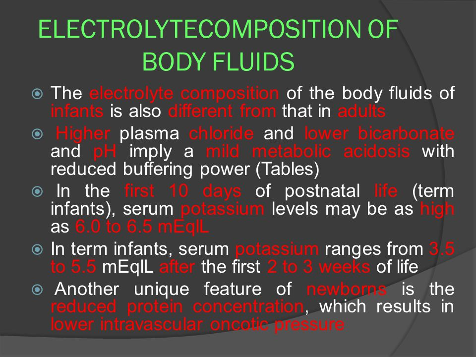 ELECTROLYTECOMPOSITION OF BODY FLUIDS