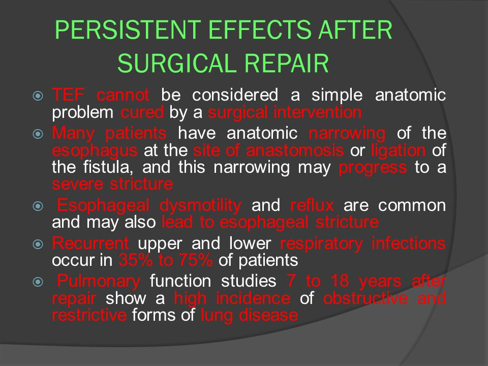 PERSISTENT EFFECTS AFTER SURGICAL REPAIR