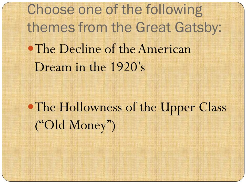 theme of wealth in the great gatsby