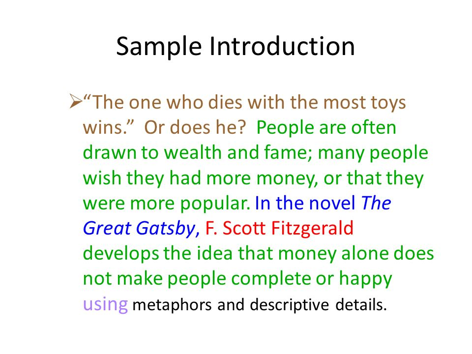 Writing The Literary Analysis Essay  Ppt Video Online Download  Sample Introduction