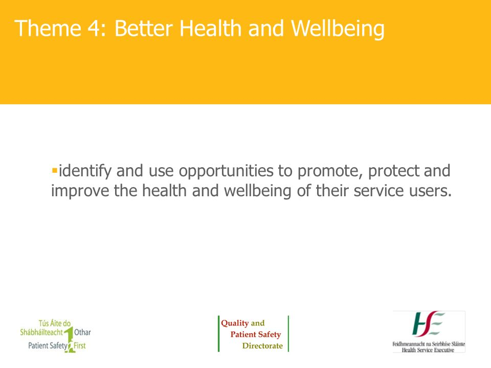 Theme 4: Better Health and Wellbeing