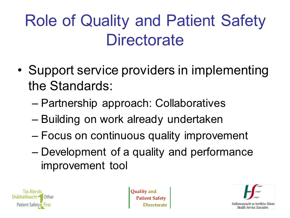 Role of Quality and Patient Safety Directorate