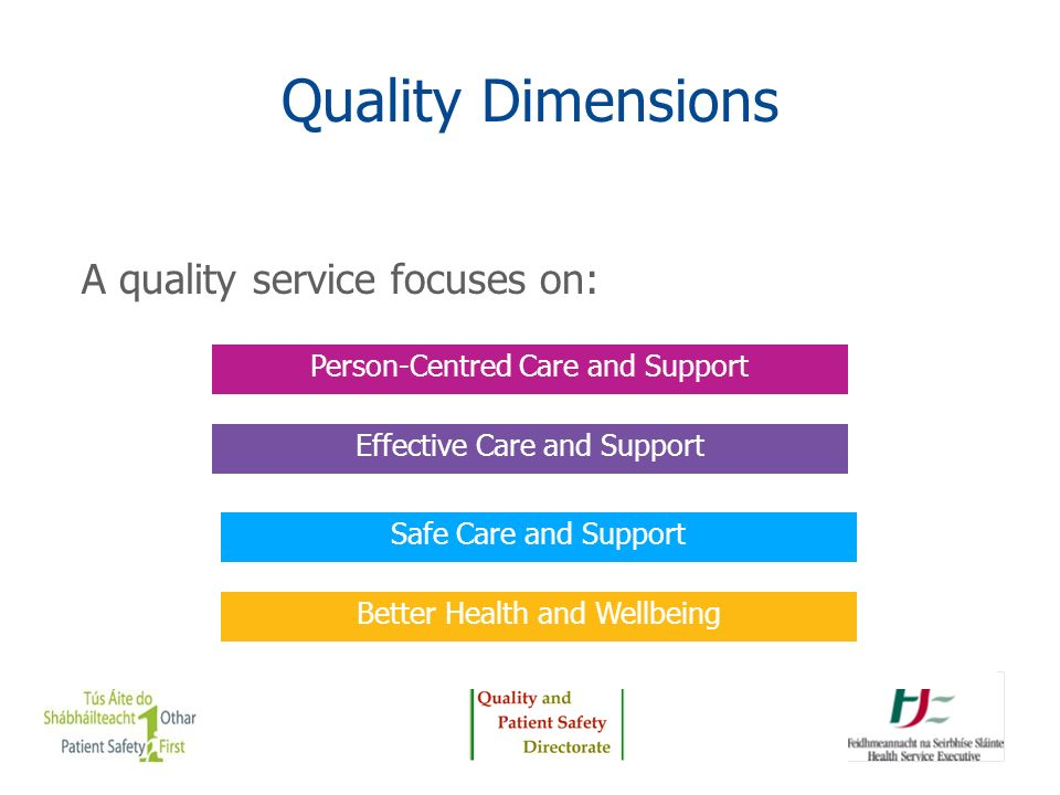 Quality Dimensions A quality service focuses on: