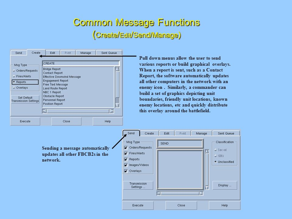 Common Message Functions (Create/Edit/Send/Manage)