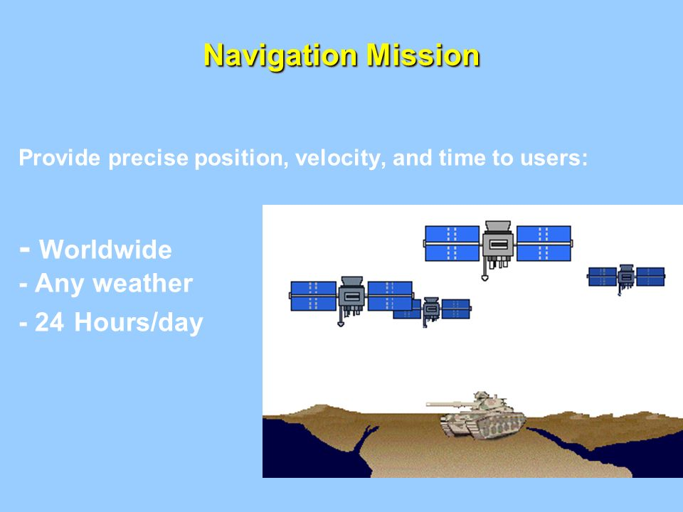 - Worldwide Navigation Mission - Any weather - 24 Hours/day