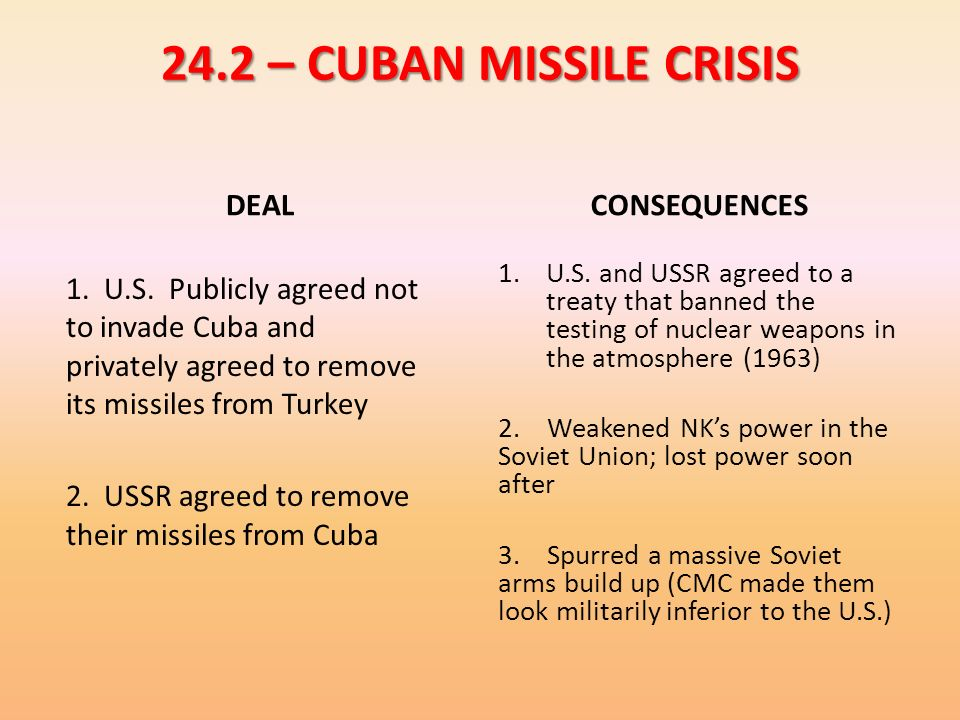 24.2 – CUBAN MISSILE CRISIS DEAL CONSEQUENCES