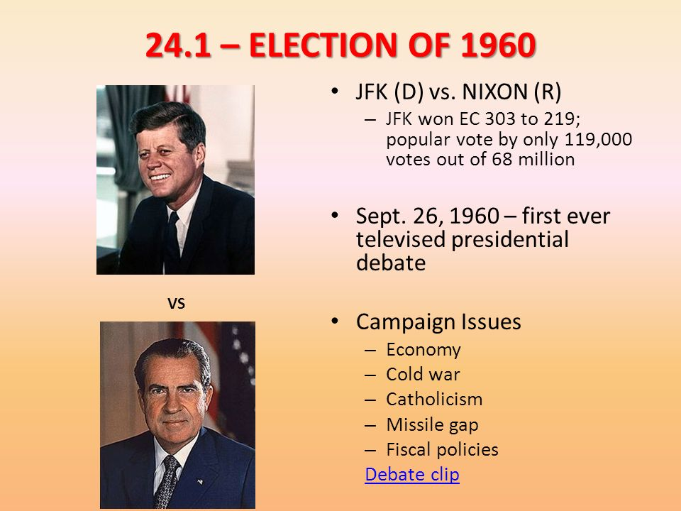 24.1 – ELECTION OF 1960 JFK (D) vs. NIXON (R)