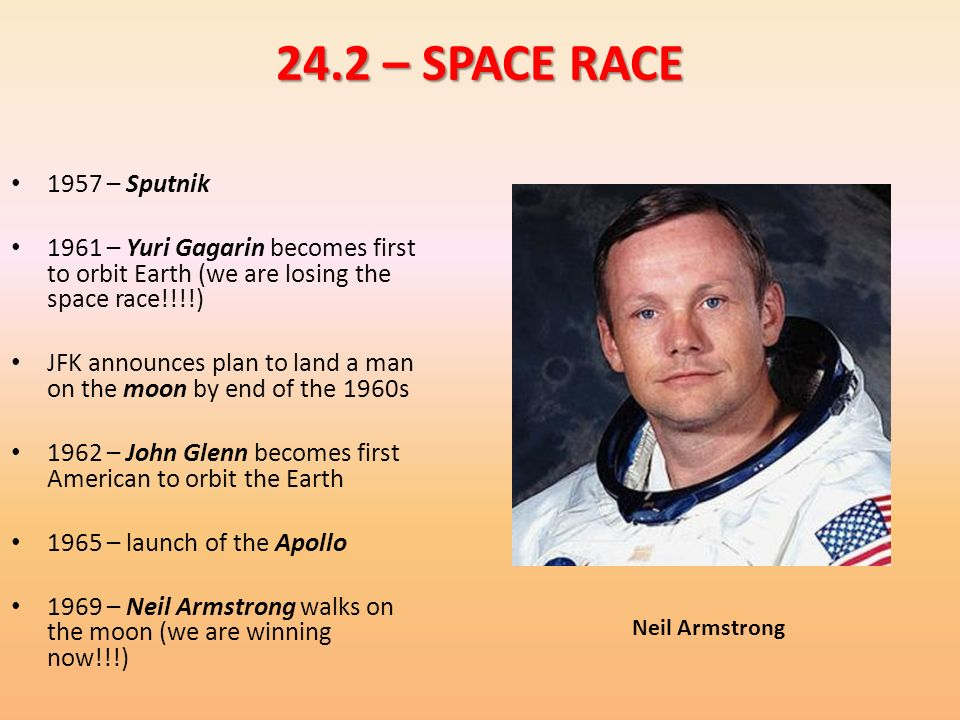 24.2 – SPACE RACE 1957 – Sputnik – Yuri Gagarin becomes first to orbit Earth (we are losing the space race!!!!)