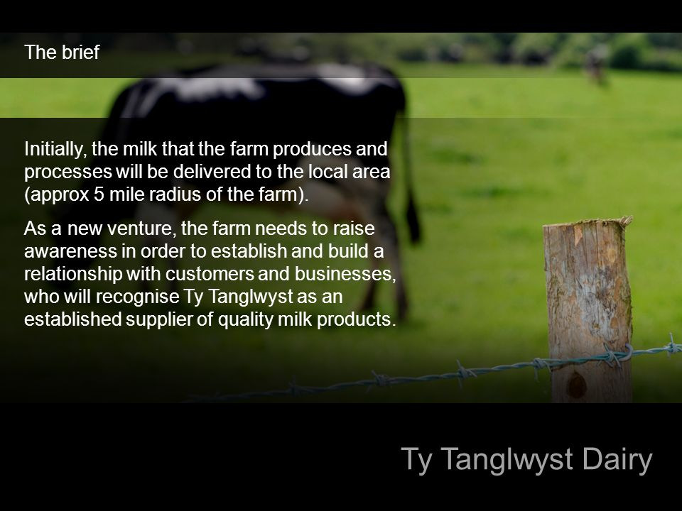 Ty Tanglwyst Dairy The brief