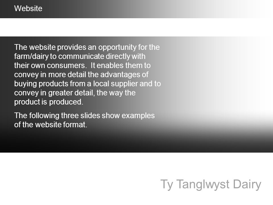Ty Tanglwyst Dairy Website