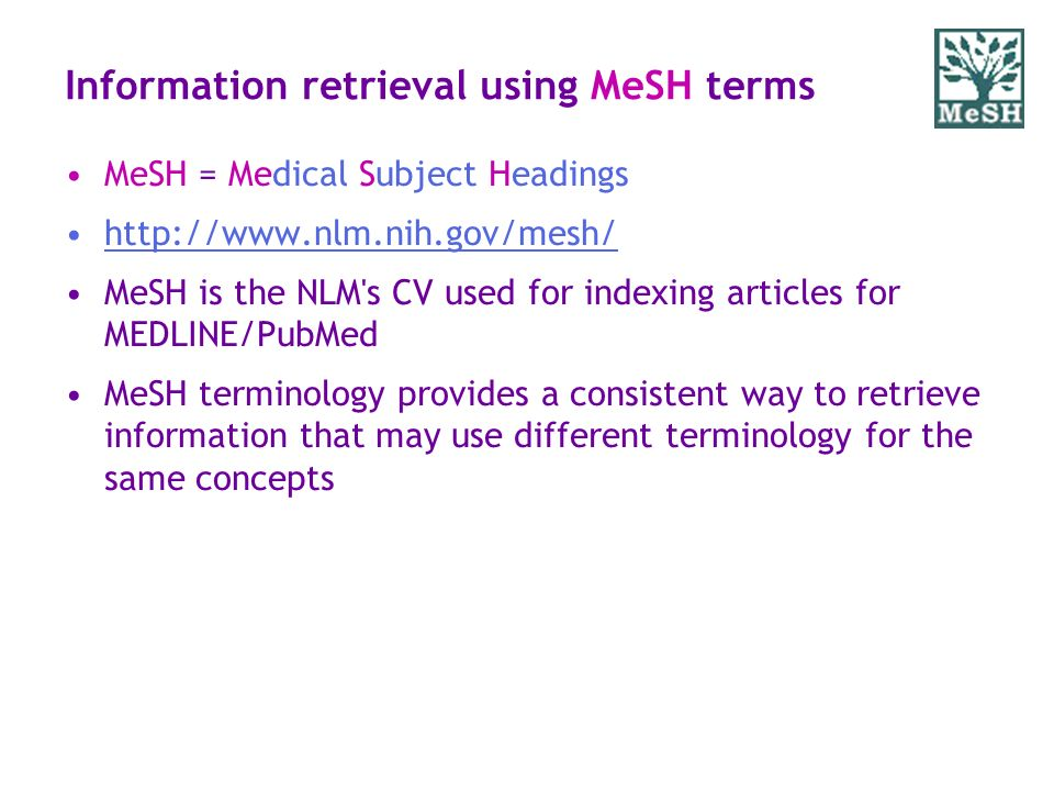Information retrieval using MeSH terms