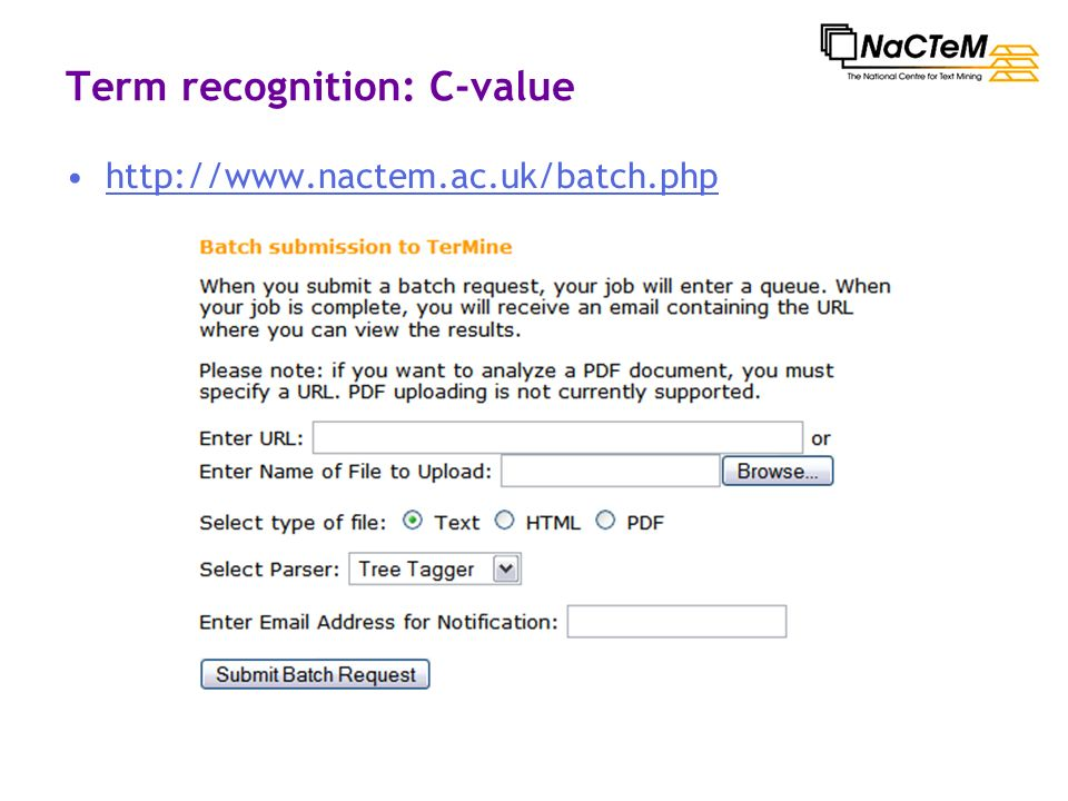 Term recognition: C-value