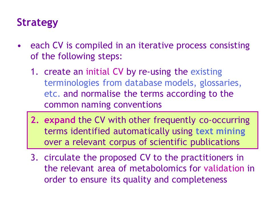 Strategy each CV is compiled in an iterative process consisting of the following steps: