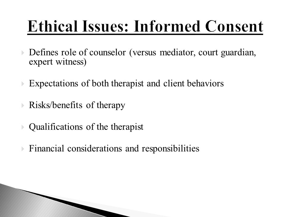 counseling ethical issues The american counseling association center for policy, practice, and research is responsible for providing access to, and interpretation of, the american counseling association code of ethics this web page offers aca members and members of the public with the necessary tools to ensure compliance with the ethical standards of the counseling.