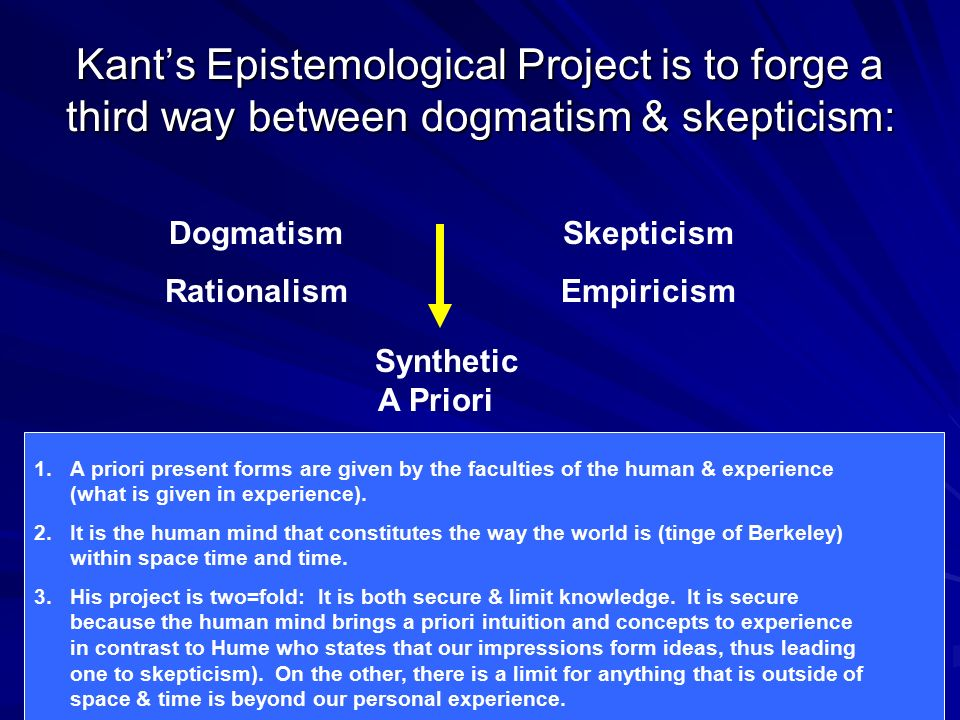 Kant's Epistemological Project is to forge a third way between dogmatism & skepticism: