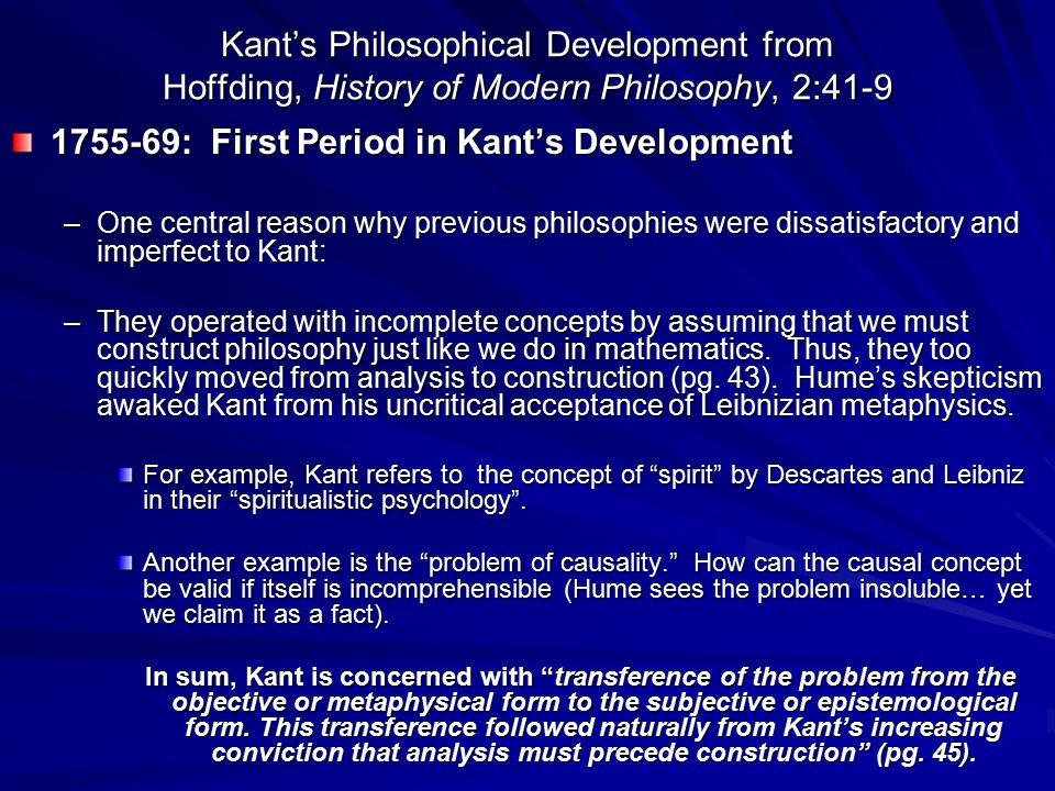 1755-69: First Period in Kant's Development