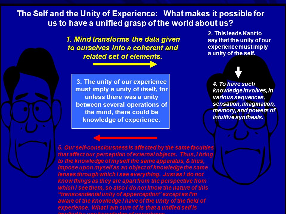 The Self and the Unity of Experience: What makes it possible for us to have a unified grasp of the world about us