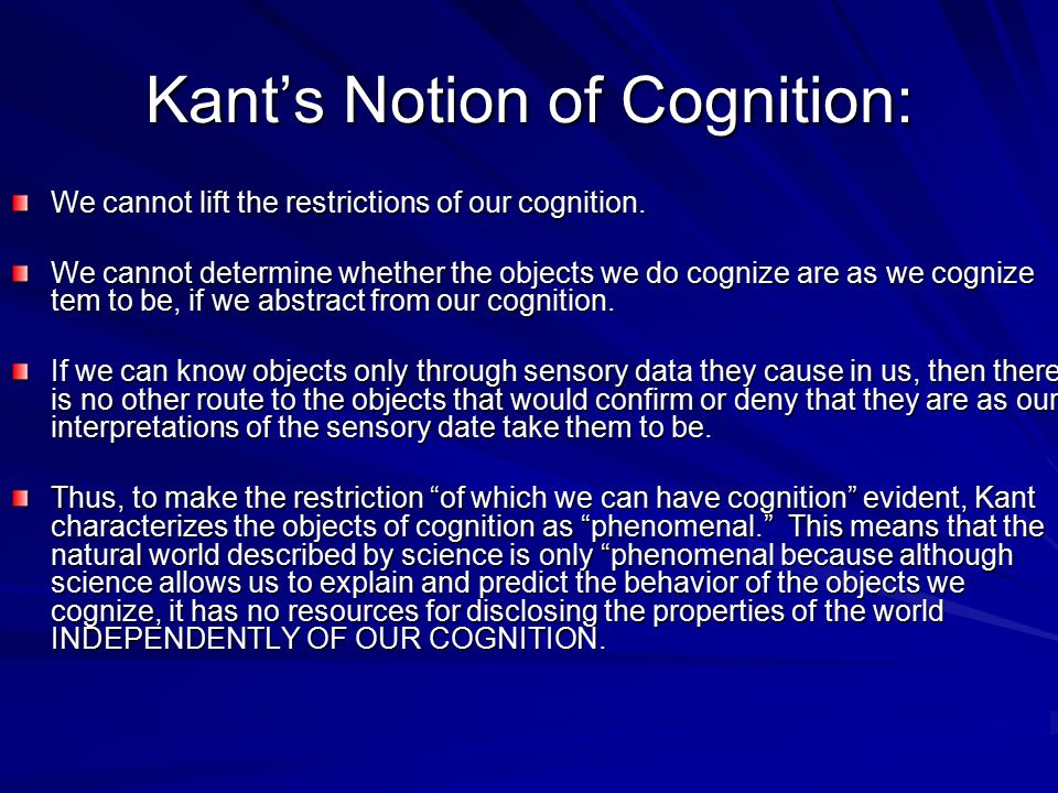 Kant's Notion of Cognition: