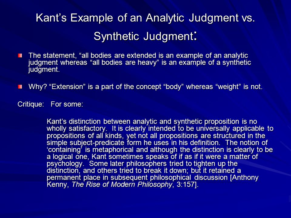 Kant's Example of an Analytic Judgment vs. Synthetic Judgment:
