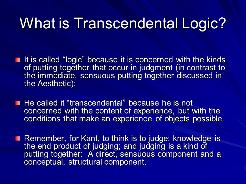 What is Transcendental Logic