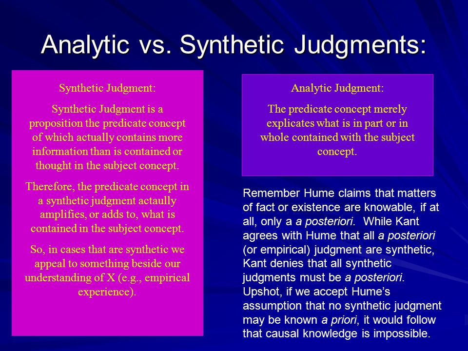 Analytic vs. Synthetic Judgments: