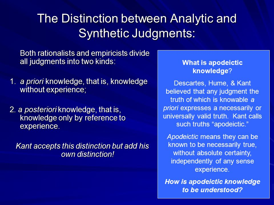 The Distinction between Analytic and Synthetic Judgments: