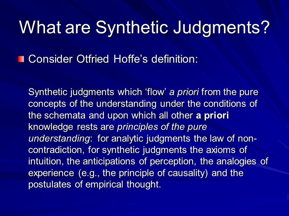 What are Synthetic Judgments