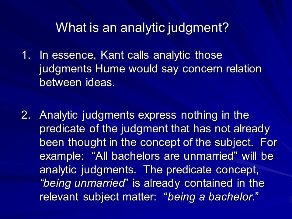 What is an analytic judgment