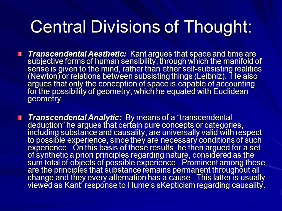 Central Divisions of Thought: