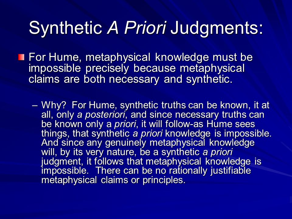 Synthetic A Priori Judgments: