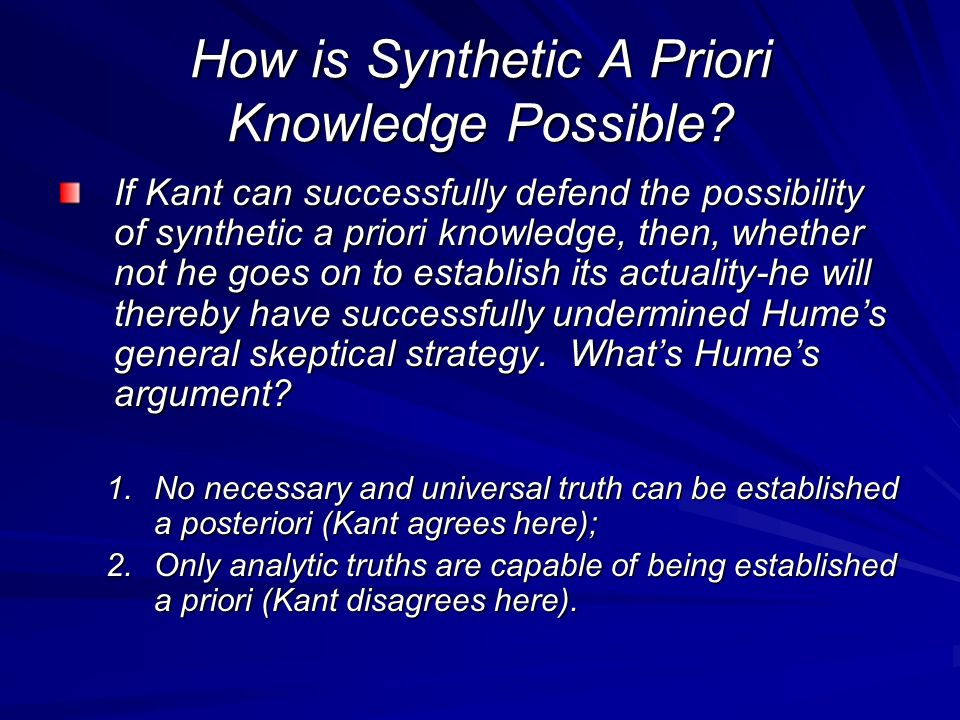 How is Synthetic A Priori Knowledge Possible