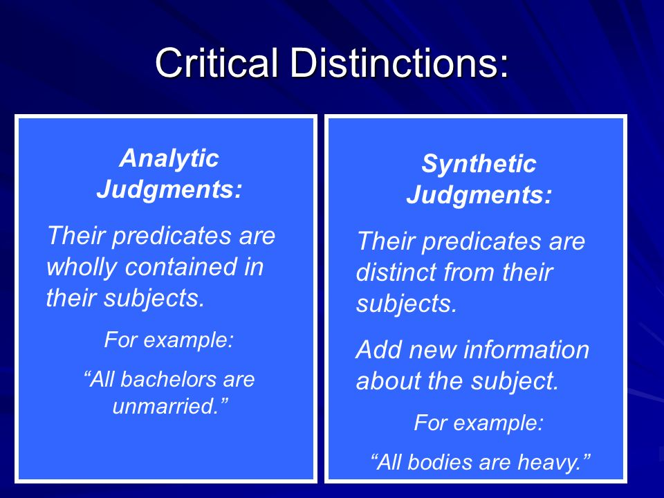 Critical Distinctions: