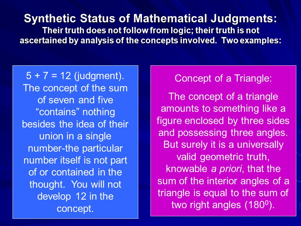 Synthetic Status of Mathematical Judgments: Their truth does not follow from logic; their truth is not ascertained by analysis of the concepts involved. Two examples: